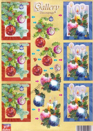 Christmas Baubles & Candles Gallery Decoupage Dufex 3d Die Cut Decoupage  Sheet